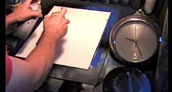 Em poucos minutos e com poucos e simples instrumentos, este artista realiza uma obra de arte