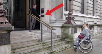 Cette femme handicapée ne peut pas monter les marches mais regardez ce qu'il se passe quand elle appuie sur un bouton!