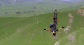 He goes up a hill with his bike: when he starts to go down, you'll be speechless