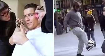 Cristiano Ronaldo gioca a pallone vestito da senzatetto... La reazione della gente è stupenda
