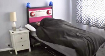 It looks like a normal bed, but as soon as the alarm goes off, the unthinkable happens