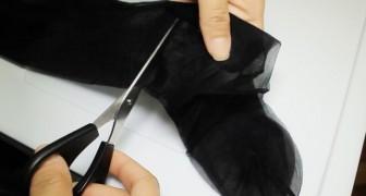 Elle commence à couper des collants pour femme... ce qu'elle va créer est surprenant!