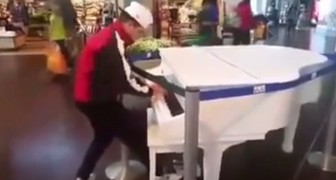 He approaches a piano on display and CHARMS passersby with an unexpected talent !