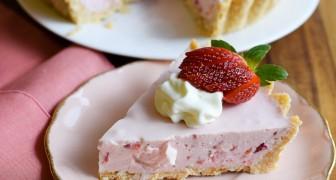 Deze overheerlijke aardbeientaart bereidt je met 5 eenvoudige stappen en zonder te bakken!