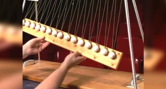 He puts a piece of wood under 15 balls: when he lets them go...you'll be mesmerized !