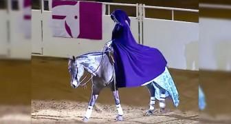 Entra en la arena con su esplendido caballo: cuando se saca la capa todos quedan con la boca abierta