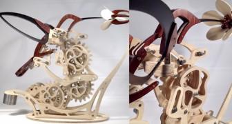 Questa elegante scultura in legno riesce a riprodurre perfettamente il volo di un colibrì