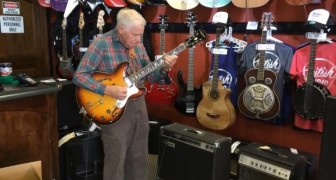 An 80 year old man walks into a guitar shop and the shop assistants are shocked!