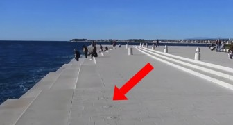 It looks like a normal pier, but when the waves arrive something magical happens