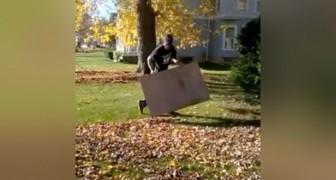 El modo mas veloz para liberarse de las hojas secas...usando SOLO un carton