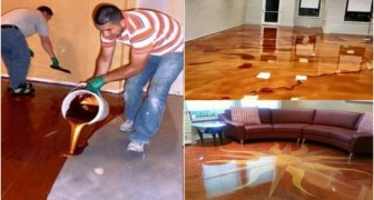 They pour a metallic color liquid on the floor. The result? You'll want it too!