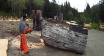 He gets the chainsaw and starts cutting: from the enormous trunk he creates a MASTERPIECE