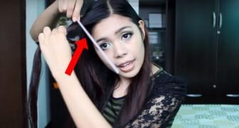 Mit Strohhalmen macht dieses Mädchen eine wunderbare Frisur