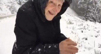 A 101 years old woman asks his son to stop in the snow: here's why....
