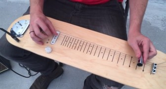 He transforms a skateboard in a guitar: when he plays it,  the sound effect is awesome