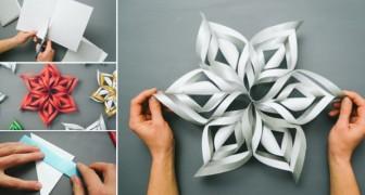 Pegue uma folha de papel e transforme em um floco de neve 3D