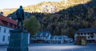 Dit is Rjukan, een plaats in Noorwegen die 6 maanden per jaar wordt verlicht met behulp van spiegels