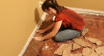 Papier plakken op de vloer... Een doe-het-zelf idee met fascinerend resultaat!