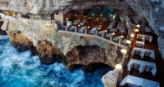 An amazing restaurant inside of a sea cave!