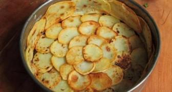 Ricopre la teglia con le patate e aggiunge gli spinaci: il piatto finale è un capolavoro