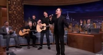 U2 zingt live in een televisieprogramma... hun energie is meeslepend!