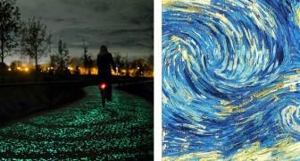 Una pista ciclabile fluorescente si ispira ai motivi del famosissimo dipinto di Van Gogh