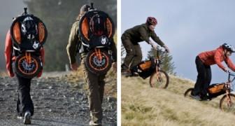 Lo zaino che in 2 minuti diventa una bici: la nuova frontiera dello sport in montagna
