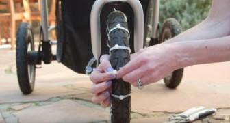 Lega delle fascette sulle ruote del passeggino: un trucco che tutte le mamme adoreranno!