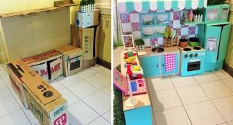 Costruisce una cucina per la figlia usando solo cartoni: risultato magnifico e quasi a costo zero