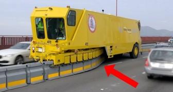 Asi es como logran mover los carriles de las carreteras en pocos minutos y sin riesgos