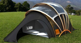 Camping schreckt dich ab? Hier das Zelt, das Licht, Wärme, Elektrizität und Internet bietet.