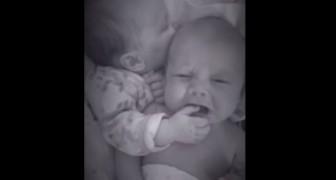 El pequeño comienza a llorar, pero su hermano gemelo sabe bien como calmarlo...