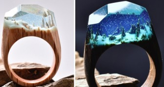 Boschi innevati e paesaggi subacquei: vi innamorerete di questi meravigliosi anelli in legno e resina