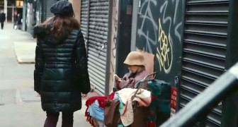 A girl passes right by a homeless woman --- but does not realize who she really is!