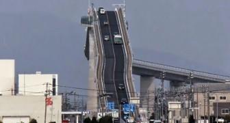 Pode parecer uma montanha russa... mas é somente uma ponte aterrorizante no Japão!
