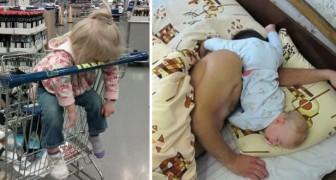 Diese Kinder sind vom Schlaf überfallen worden. In unvorstellbaren Situationen