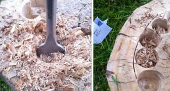 Seht hier wie aus einem alten Baumstamm ein fabelhaftes Möbelstück entstehen kann.