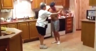 A mother and son meet up in the kitchen --- Their natural complicity is a joy to watch!