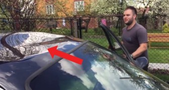 His car has a bad dent in the roof --- the way he repairs it is....magical!