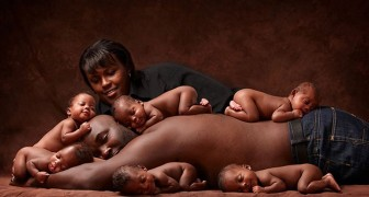 Cette photo a été prise à la naissance de sextuplés  : 6 ans après, les sextuplés et leurs parents refont une photo identique ... et c'est craquant!