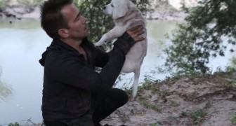 A man finds a puppy near a river --- what happens will bring tears to your eyes!