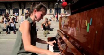 She plays the piano for passersby --- Here is her engaging performance!