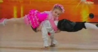 Two fantastic kids dancing together