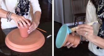 Elle commence à coller des vases en terre cuite et crée un objet parfait pour la maison !