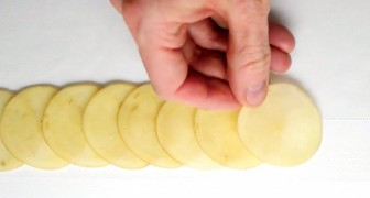 Put thin potato slices on a kitchen table --- the result is delightful to see and eat!