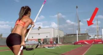 Die Athletin bereitet sich auf den Sprung vor: die subjektive Kamera wird euch staunen lassen!