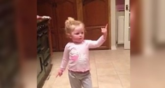 Her favorite song begins --- this little girl's dancing is precious!