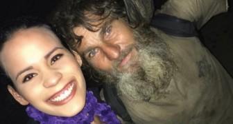 Ein Obdachloser nähert sich einem Mädchen um nach Almosen zu fragen, aber zum Schluss gibt ER ihr Geld...