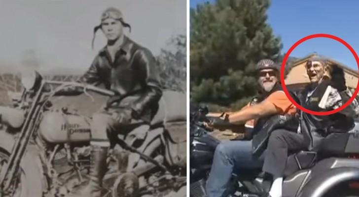 101- year-old Harley Davidson biker celebrates his birthday!
