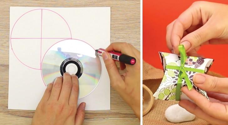 Aprenda como criar uma caixinha de presente usando cartolina e um CD